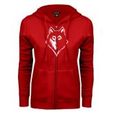 ENZA Ladies Red Fleece Full Zip Hoodie-Wolf Head