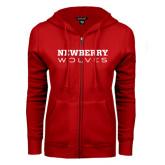 ENZA Ladies Red Fleece Full Zip Hoodie-Newberry Wolves