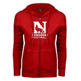 ENZA Ladies Red Fleece Full Zip Hoodie-Football