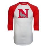 White/Red Raglan Baseball T-Shirt-N Mark