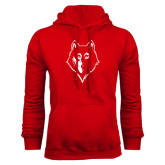Red Fleece Hoodie-Wolf Head