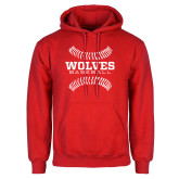 Red Fleece Hoodie-Baseball Design