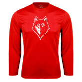 Syntrel Performance Red Longsleeve Shirt-Wolf Head