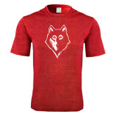 Performance Red Heather Contender Tee-Wolf Head