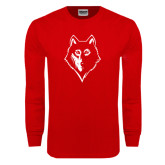 Red Long Sleeve T Shirt-Wolf Head