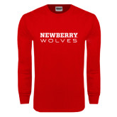 Red Long Sleeve T Shirt-Newberry Wolves