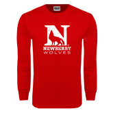 Red Long Sleeve T Shirt-Official Logo Distressed