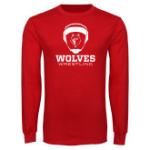 Red Long Sleeve T Shirt-Wrestling Design