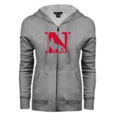 ENZA Ladies Grey Fleece Full Zip Hoodie-N Mark