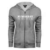 ENZA Ladies Grey Fleece Full Zip Hoodie-Newberry Wolves