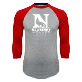 Grey/Red Raglan Baseball T Shirt-Official Logo