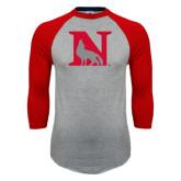 Grey/Red Raglan Baseball T Shirt-N Mark