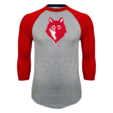 Grey/Red Raglan Baseball T Shirt-Wolf Head