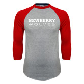 Grey/Red Raglan Baseball T Shirt-Newberry Wolves