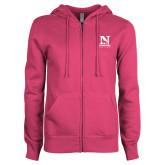 ENZA Ladies Fuchsia Fleece Full Zip Hoodie-Official Logo