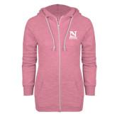 ENZA Ladies Hot Pink Marled Full Zip Hoodie-Official Logo