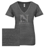 ENZA Ladies Graphite Melange V Neck Tee-Official Logo Silver Soft Glitter