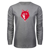 Grey Long Sleeve T Shirt-Wolf Head