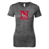Next Level Ladies Junior Fit Dark Grey Burnout Tee-Official Logo