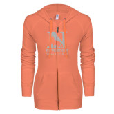 ENZA Ladies Coral Light Weight Fleece Full Zip Hoodie-Official Logo White Soft Glitter