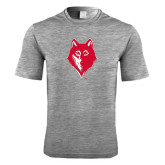 Performance Grey Heather Contender Tee-Wolf Head