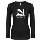 Ladies Black Long Sleeve V Neck T Shirt-Official Logo