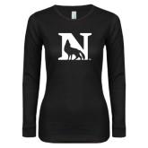 Ladies Black Long Sleeve V Neck T Shirt-N Mark