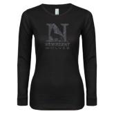 Ladies Black Long Sleeve V Neck T Shirt-Official Logo Graphite Glitter
