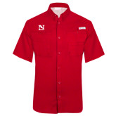 Columbia Tamiami Performance Red Short Sleeve Shirt-N Mark