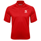Red Textured Saddle Shoulder Polo-Official Logo