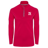 Ladies Pink Raspberry Sport Wick 1/4 Zip Pullover-Official Logo