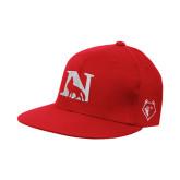 Red OttoFlex Flat Bill Pro Style Hat-N Mark