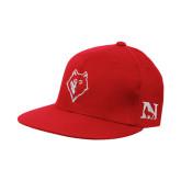 Red OttoFlex Flat Bill Pro Style Hat-Wolf Head