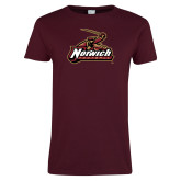 Ladies Maroon T Shirt-Football