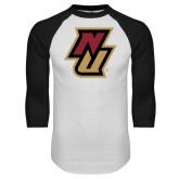 White/Black Raglan Baseball T Shirt-NU