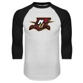 White/Black Raglan Baseball T Shirt-NU Shield