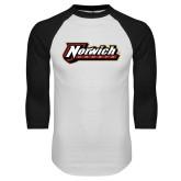 White/Black Raglan Baseball T Shirt-Norwich Wordmark