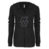 ENZA Ladies Black Light Weight Fleece Full Zip Hoodie-NU Graphite Soft Glitter