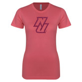 Next Level Ladies SoftStyle Junior Fitted Pink Tee-NU Hot Pink Glitter