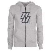 ENZA Ladies Grey Fleece Full Zip Hoodie-NU Graphite Soft Glitter