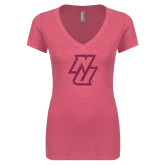 Next Level Ladies Vintage Pink Tri Blend V Neck Tee-NU Hot Pink Glitter