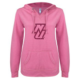 ENZA Ladies Hot Pink V Notch Raw Edge Fleece Hoodie-NU Hot Pink Glitter