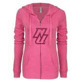 ENZA Ladies Hot Pink Light Weight Fleece Full Zip Hoodie-NU Hot Pink Glitter