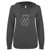 ENZA Ladies Dark Heather V Notch Raw Edge Fleece Hoodie-NU Silver Soft Glitter