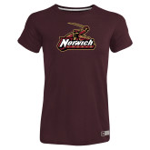 Ladies Russell Maroon Essential T Shirt-Primary Mark