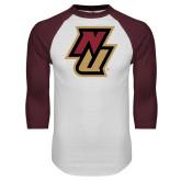 White/Maroon Raglan Baseball T Shirt-NU
