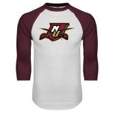 White/Maroon Raglan Baseball T Shirt-NU Shield
