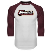 White/Maroon Raglan Baseball T Shirt-Norwich Wordmark