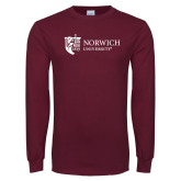 Maroon Long Sleeve T Shirt-University Mark Flat
