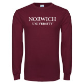 Maroon Long Sleeve T Shirt-Wordmark Stacked